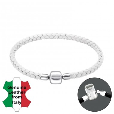 White - 925 Sterling Silver + Leather Cord Bracelet for silver beads A4S25120