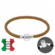 Plain - Leather Cord + 925 Sterling Silver Bracelet for silver beads A4S31163