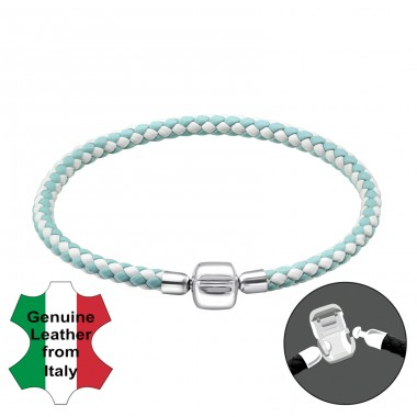 Plain - Leather Cord + 925 Sterling Silver Bracelet for silver beads A4S31499