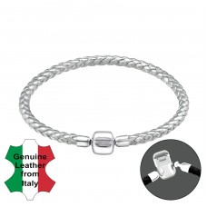 Plain - 925 Sterling Silver + Leather Cord Bracelet for silver beads A4S31500