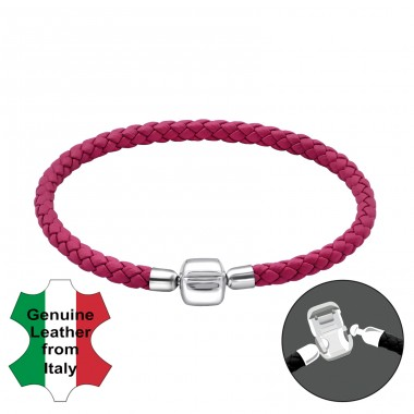 Fuchsia - Leather Cord + 925 Sterling Silver Bracelet for silver beads A4S32601