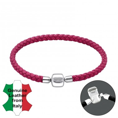 Fuchsia - 925 Sterling Silver + Leather Cord Bracelet for silver beads A4S32601
