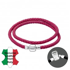 Leather Bead Bracelet With Silver Lock - Leather Cord + 925 Sterling Silver Bracelet for silver beads A4S35635