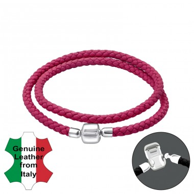 Leather Bead Bracelet With Silver Lock - 925 Sterling Silver + Leather Cord Bracelet for silver beads A4S35635