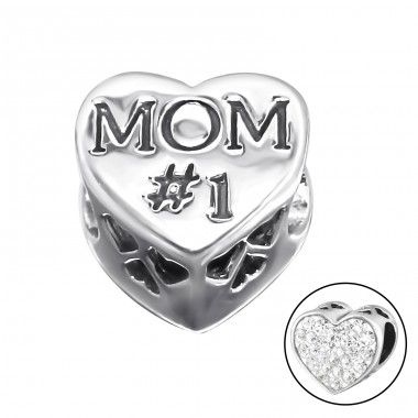 Heart Mom - 925 Sterling Silver Beads with Zirconia or Crystal A4S10076