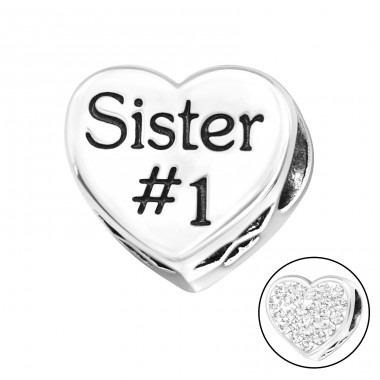 Heart Sister - 925 Sterling Silver Beads with Zirconia or Crystal A4S10078