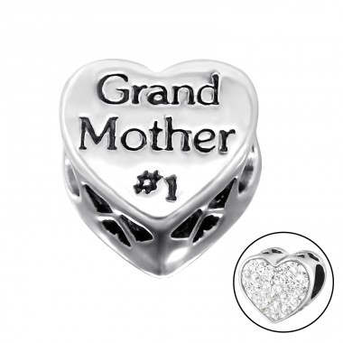 Heart Grand Mother - 925 Sterling Silver Beads with Zirconia or Crystal A4S10079