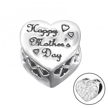 Heart Happy Mother's Day - 925 Sterling Silver Beads with Zirconia or Crystal A4S10080