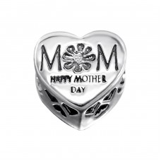 Heart Mom - 925 Sterling Silver Beads with Zirconia or Crystal A4S10081
