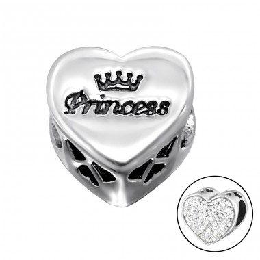 Heart Princess - 925 Sterling Silver Beads with Zirconia or Crystal A4S10414