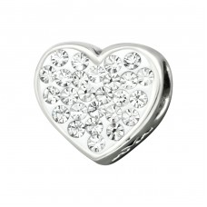 Heart Positive - 925 Sterling Silver Beads with Zirconia or Crystal A4S10516