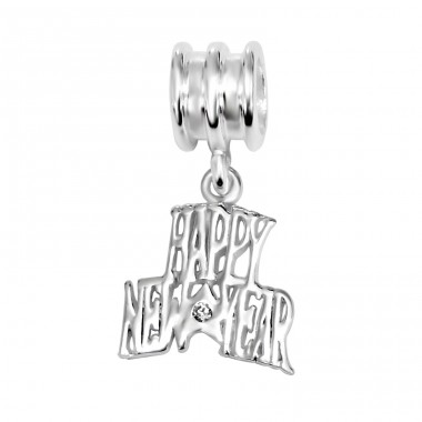 Hanging Happy New Year - 925 Sterling Silver Beads with Zirconia or Crystal A4S10755