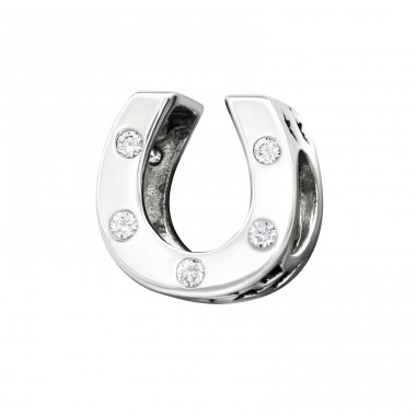 Horseshoe - 925 Sterling Silver Beads with Zirconia or Crystal A4S11118