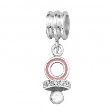 Child's Pacifier - 925 Sterling Silver Beads with Zirconia or Crystal A4S11427