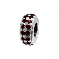 Round - 925 Sterling Silver Beads with Zirconia or Crystal A4S11455
