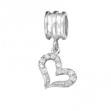 Hanging Heart - 925 Sterling Silver Beads with Zirconia or Crystal A4S11933
