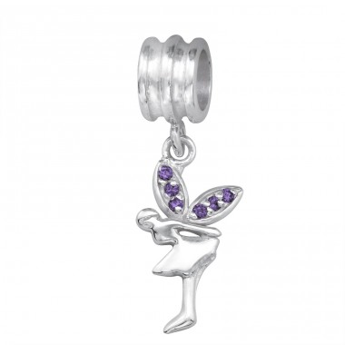 Hanging Fairy - 925 Sterling Silver Beads with Zirconia or Crystal A4S11936