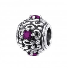 Round - 925 Sterling Silver Beads with Zirconia or Crystal A4S12041