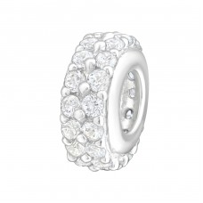 Round - 925 Sterling Silver Beads With Zirconia Or Crystal A4S12043