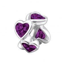 Heart Shaped - 925 Sterling Silver Beads with Zirconia or Crystal A4S13924