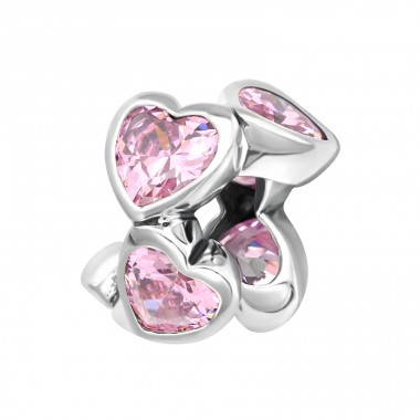 Pink Hearts - 925 Sterling Silver Beads With Zirconia Or Crystal A4S13995