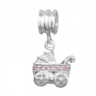 Hanging Baby Carriage - 925 Sterling Silver Beads with Zirconia or Crystal A4S14837