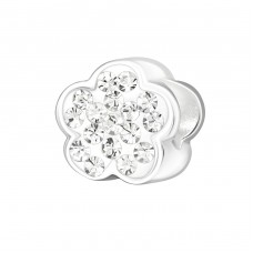 Flower - 925 Sterling Silver Beads with Zirconia or Crystal A4S15727