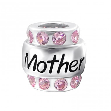 Mother - 925 Sterling Silver Beads with Zirconia or Crystal A4S19829