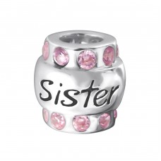 Sister - 925 Sterling Silver Beads with Zirconia or Crystal A4S19830
