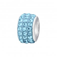 Round - 925 Sterling Silver Beads with Zirconia or Crystal A4S2134