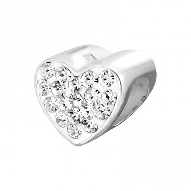 Heart - 925 Sterling Silver Beads with Zirconia or Crystal A4S2136