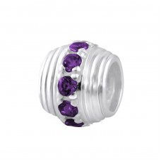 Round - 925 Sterling Silver Beads with Zirconia or Crystal A4S2160