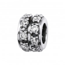 Round - 925 Sterling Silver Beads with Zirconia or Crystal A4S2162