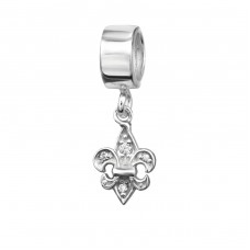 Hanging Fleur De Lis - 925 Sterling Silver Beads with Zirconia or Crystal A4S2182