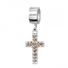 Hanging White Cross - 925 Sterling Silver Beads with Zirconia or Crystal A4S2183