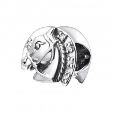 Horse - 925 Sterling Silver Beads with Zirconia or Crystal A4S25116