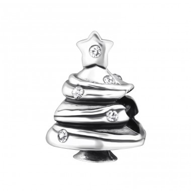Christmas Tree - 925 Sterling Silver Beads with Zirconia or Crystal A4S27666