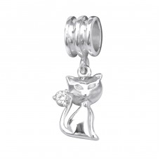 Cat - 925 Sterling Silver Beads with Zirconia or Crystal A4S28868