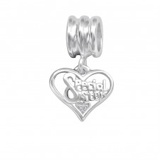 Heart - 925 Sterling Silver Beads with Zirconia or Crystal A4S28869