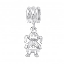 Girl - 925 Sterling Silver Beads with Zirconia or Crystal A4S28908