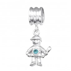 Boy - 925 Sterling Silver Beads with Zirconia or Crystal A4S28909