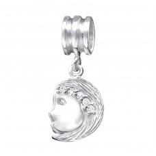 Virgo Zodiac Sign - 925 Sterling Silver Beads with Zirconia or Crystal A4S29530