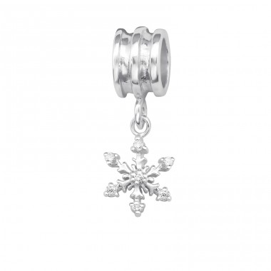 Snowflake - 925 Sterling Silver Beads with Zirconia or Crystal A4S29536