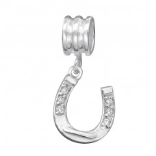 Horseshoe - 925 Sterling Silver Beads with Zirconia or Crystal A4S29537