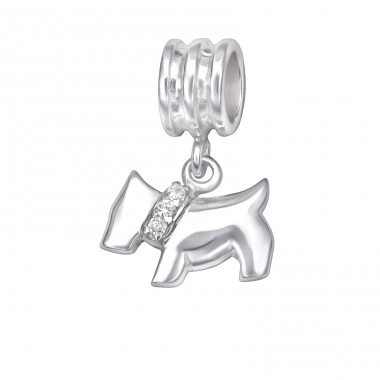 Dog - 925 Sterling Silver Beads with Zirconia or Crystal A4S29538