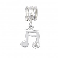 Music Note - 925 Sterling Silver Beads with Zirconia or Crystal A4S29544
