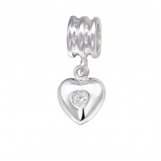 Heart - 925 Sterling Silver Beads with Zirconia or Crystal A4S29545