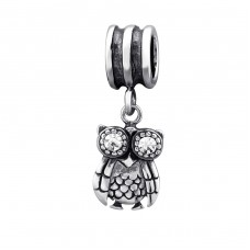 Owl - 925 Sterling Silver Beads with Zirconia or Crystal A4S29554