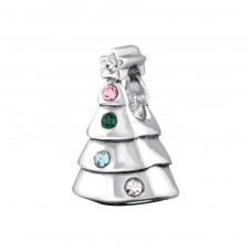 Christmas Tree - 925 Sterling Silver Beads with Zirconia or Crystal A4S29560