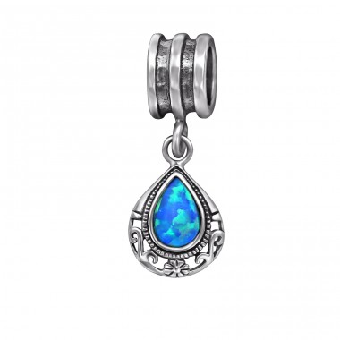 Tear Drop Opal - 925 Sterling Silver Beads with Zirconia or Crystal A4S29564